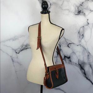 LIZ CLAIBORNE leather tan black crossbody bag